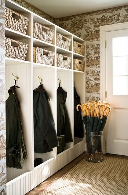 Mudroom with Wallpaper dawncookdesign.com
