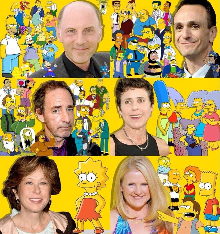The Simpsons actors and their characters. (From the top left to right) Dan Castleneta, Hank Azaria, Harry Shearer, Julie Kavner, Yeardley Smith and Nancy Cartwright.