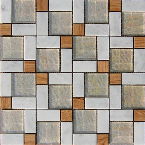 These solid wood tiles are inlaid with glass, stone or metal