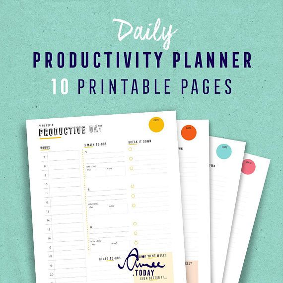 Productivity Planner Printable, Day planner, Digital Download - printable day planner