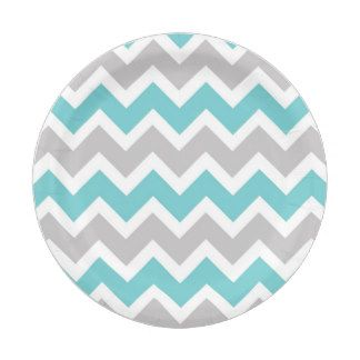 turquoise gray chevron baby shower bridal party 7 inch paper plate  sc 1 st  Pinterest & turquoise gray chevron baby shower bridal party 7 inch paper plate ...