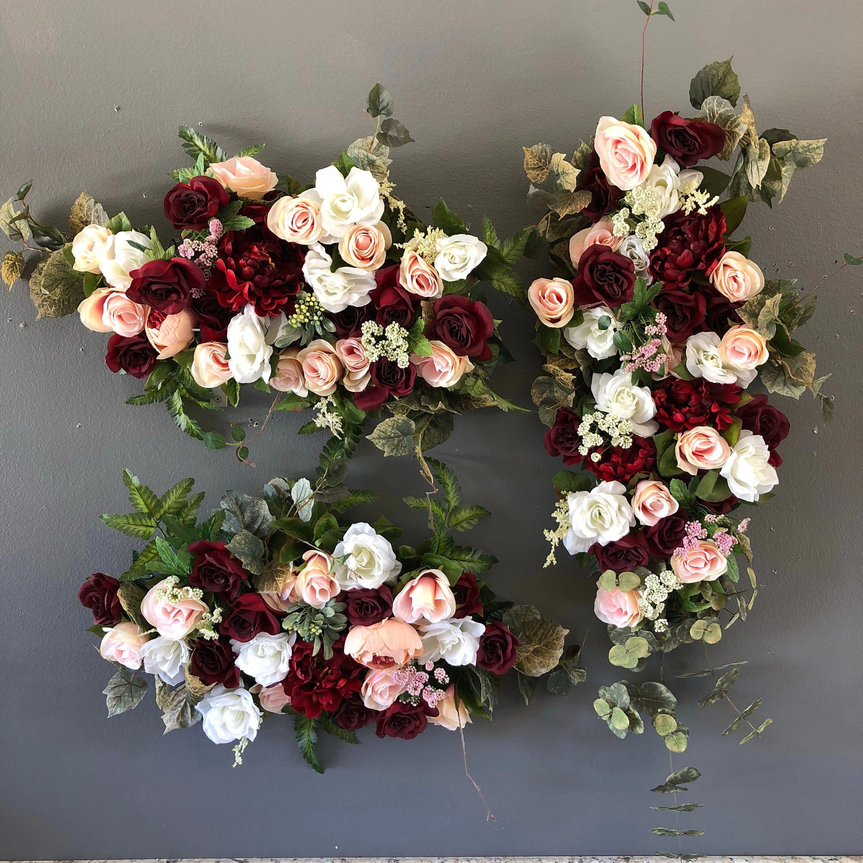 Burgundy Blush Pink Wedding Ceremony Arch Package, Wedding Arch Flowers, Wedding Archway Flowers, Circle Arch Flowers, Circular Arch, Swags