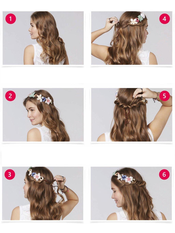 Hair Tutorials Die Schonsten Frisuren Zum Nachstylen Hippie Frisur Haarband Frisur Dirndl Frisuren Haarband