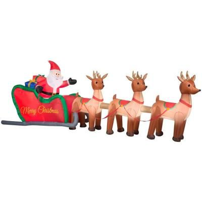 Marvelous W Inflatable Santa In Sleigh With Reindeers 36675