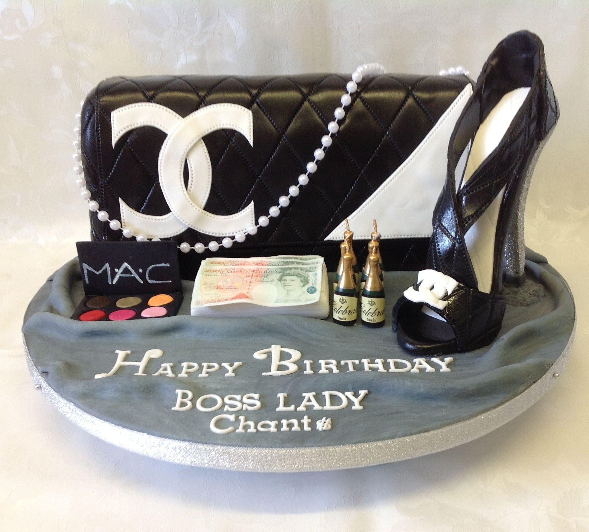 Channel Black White Handbag And Shoe Cake Con Imagenes
