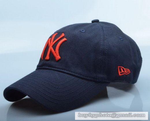 New Era MLB New York Yankees Baseball Cap Breathable Cap Curved visor Hat  Classic Retro Navy Orange 6d3319889f29