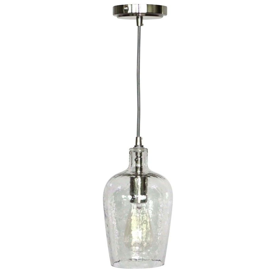 Clear Glass Pendant Lights For Kitchen Island Shop Allen Roth 6 In W Brushed Nickel Mini Pendant Light With