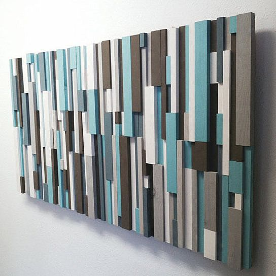 Modern Wood Art Cottage Chic Wood Strip Artwork Wooden Wall Art In Turquoise Brown Gray White Charcoal Wood Wall Sculpture Wood Artwork Rustic Wall Art