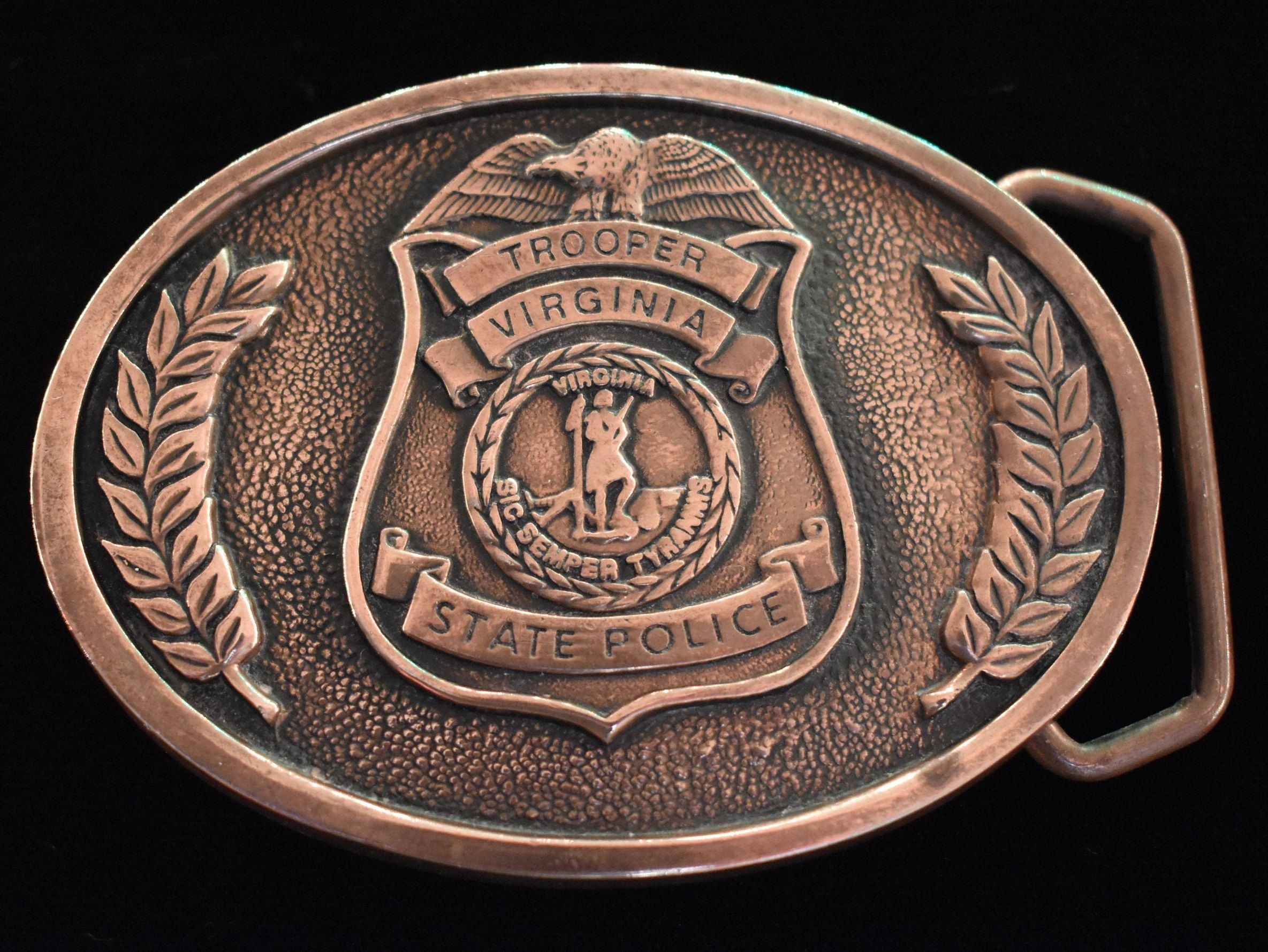 Solid Brass State Trooper Badge Belt Buckle
