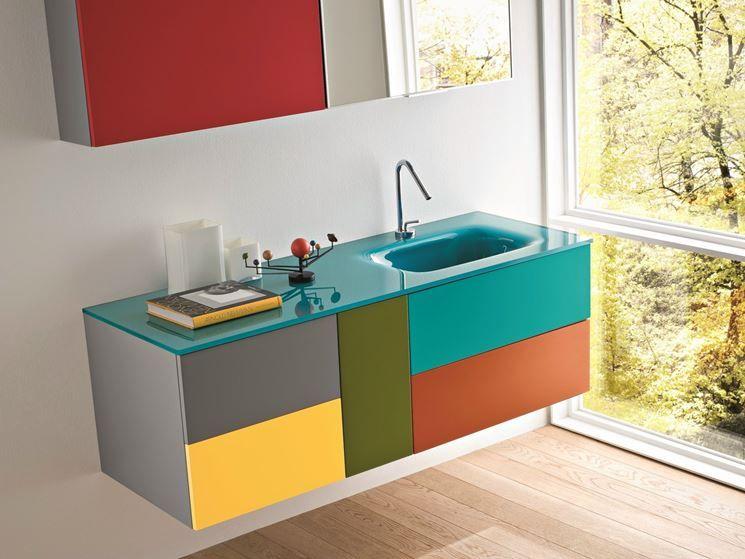 Lavandino Bagno In Vetro Colorato.Mobile Lavabo In Vetro Colorato Bagni Colorati Bagno Arredamento Bagno