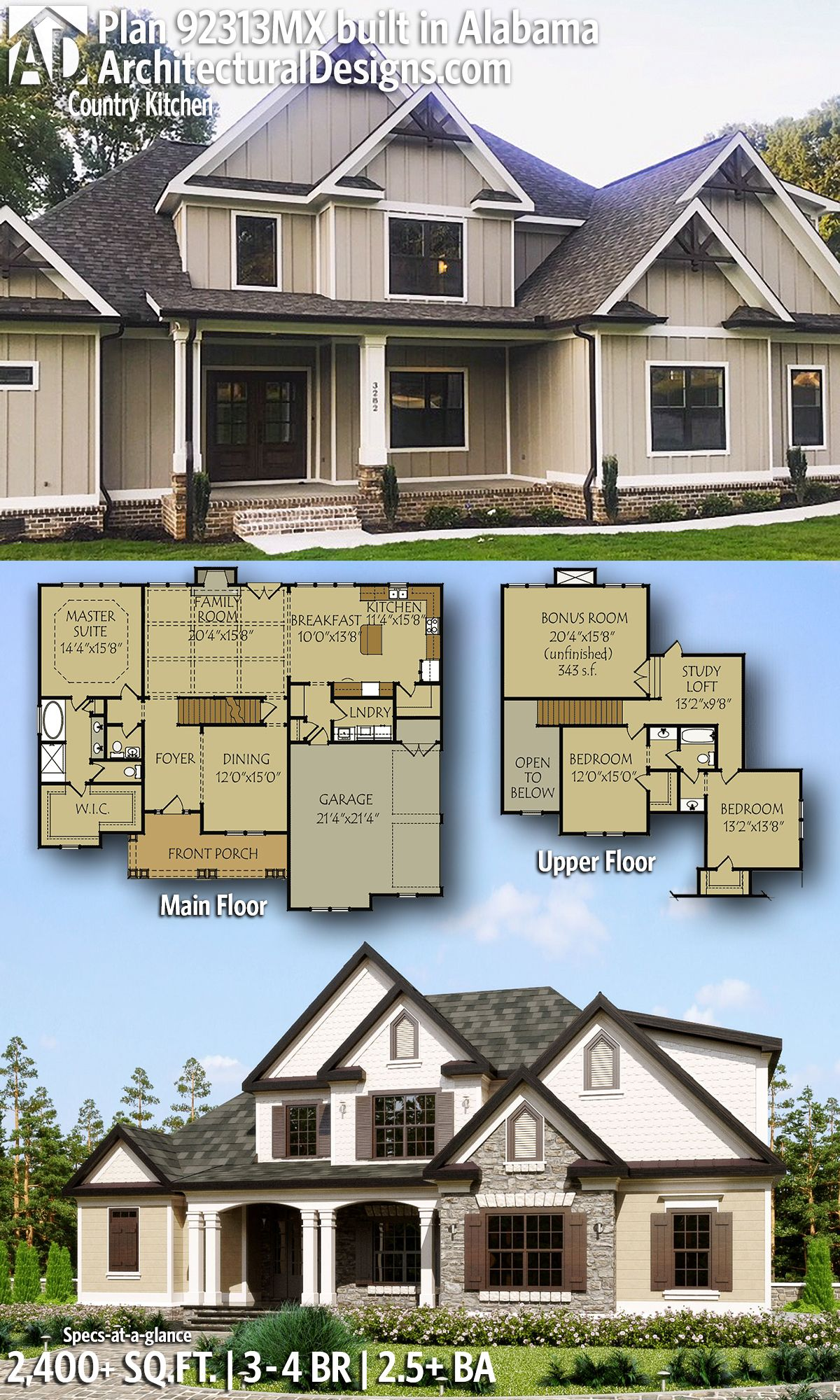 Plan 92313mx 3 Bed House Plan With Country Kitchen And Optional Finished Lower Level Architectural Design House Plans New House Plans Craftsman House