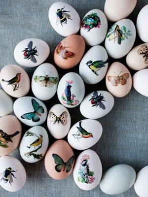 Print the images on tattoo paper, cut them out, and adhere to blown-out eggs