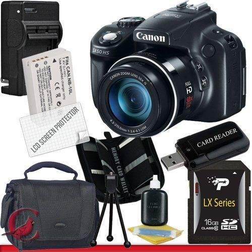 Canon PowerShot SX50 HS Digital Camera 16GB Package 2 by Canon. $459.99. Package Contents:  1- Canon PowerShot SX50 HS Digital Camera w/ All Supplied Accessories 1- 16GB SDHC Class 10 Memory Card 1- Rapid External Ac/Dc Charger Kit   1- USB Memory Card Reader  1- Rechargeable Lithium Ion Replacement Battery  1- Weather Resistant Carrying Case w/Strap  1- Pack of LCD Screen Protectors  1- Camera & Lens Cleaning Kit System  1- Mini Flexible Table Top Tripod 1- Memo...