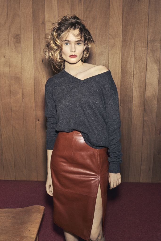 leather pencil skirt and v neck