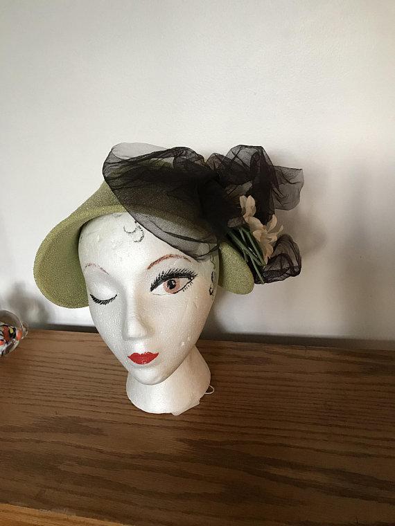80c48496 VINTAGE Lime Green Bonnet Textured Fabric Bonnet Garden Party Hat Starlet  Style Day Hat Stylin Hat U