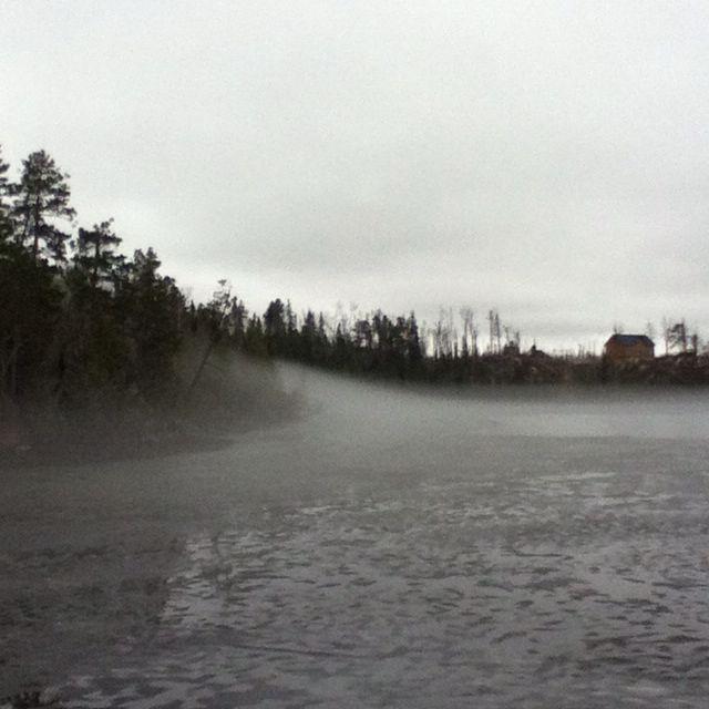 Gunflint trail lake with 'Dragon's Breath' creeping in ... ...
