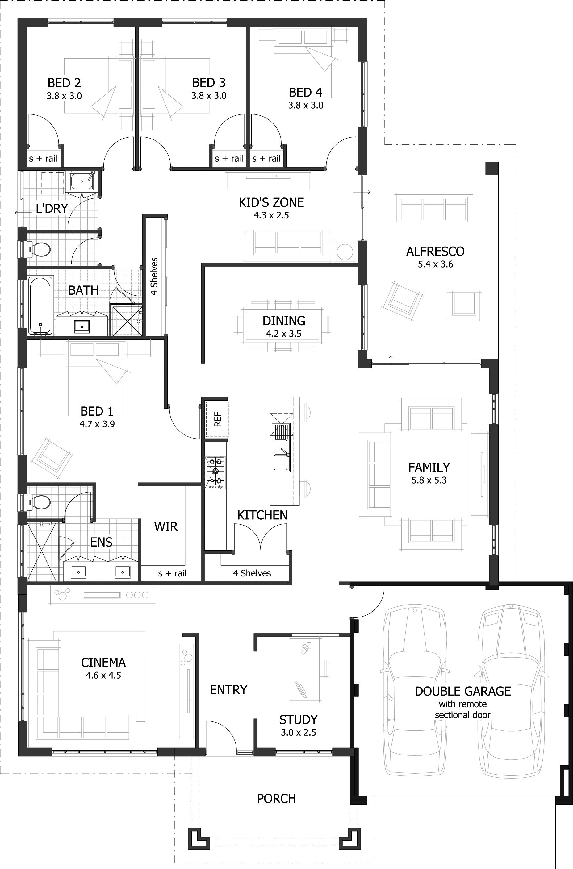 4 bedroom house plans home designs celebration homes for Single story 4 bedroom modern house plans
