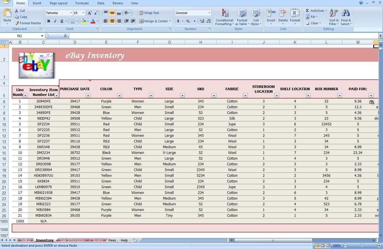 Jewelry Inventory Spreadsheet Template Ebay Store Spreadsheet Track Profit Amp Inventory