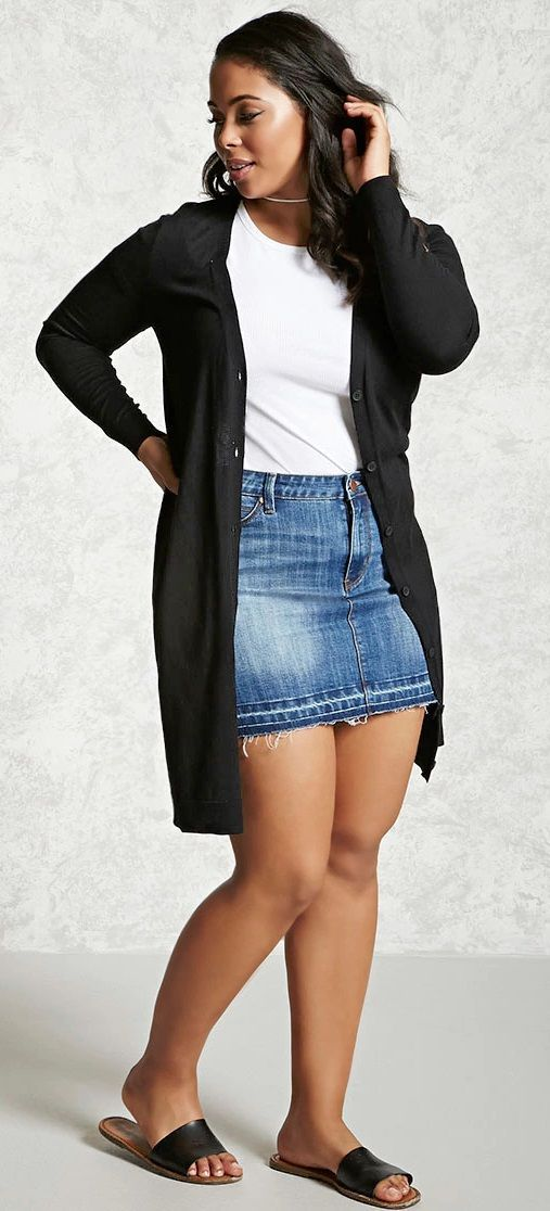 Plus Size Longline Cardigan. plus size outfits 16 Black Denim Skirt Outfit  Summer ef79c3b6a187