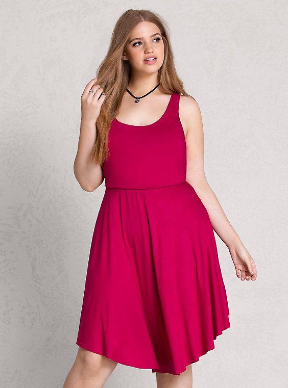 Plus Size Racerback Dress, FUSCHIA   Clothes for curves ...