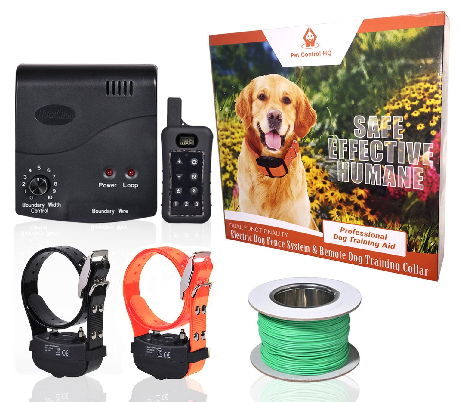 Wireless Combo Electric Dog Fence System With Remote Dog Training Collar By Petcontrolhq Safe Electric Pet Con Wireless Dog Fence Dog Fence Dog Training Collar