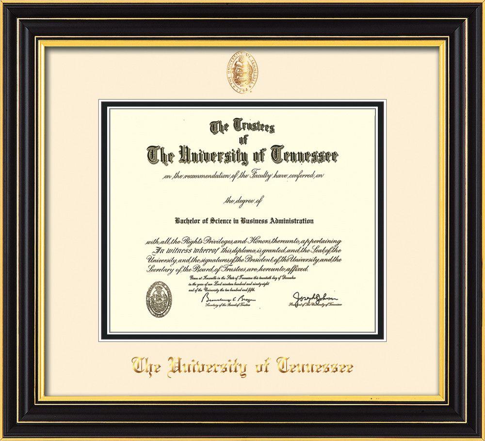 University Of Tennessee Diploma Frame S Black Ut Seal