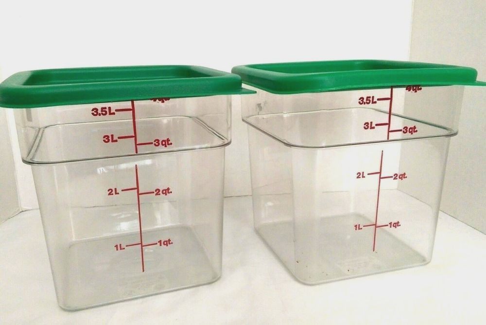 Two Cambro 4 Quart Camsquare Food Storage Containers With Lids Usa