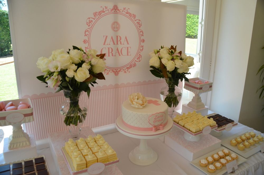 Christening Dessert Table - Style My Celebration Desserts ...