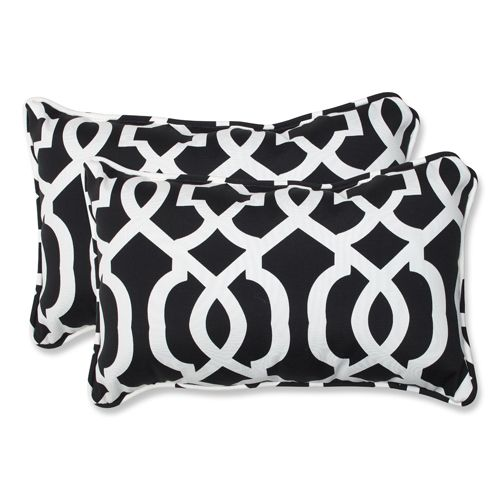 Pillow Perfect Black And White Outdoor New Geo Black And White Rectangular Throw Pillow Set Of 2 543314 Bellacor Decorative Throw Pillow Sets Perfect Pillow Outdoor Decorative Pillows