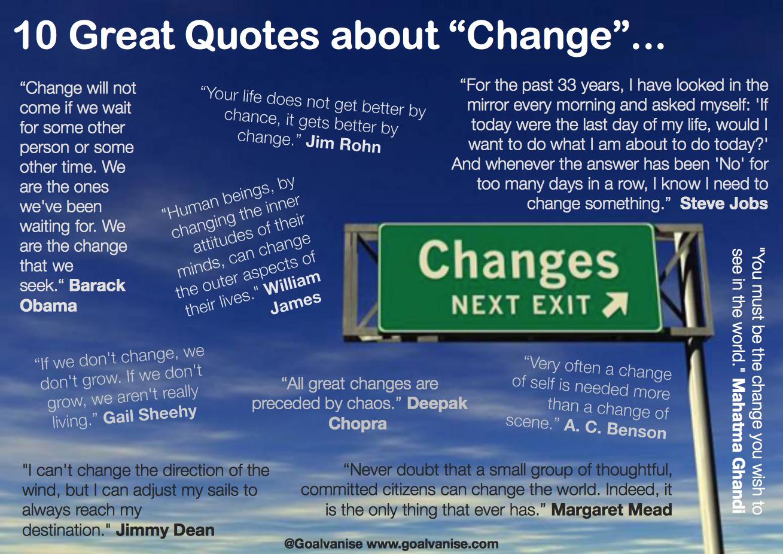 10 Great Quotes About Change Barack Obama William James Jim Rohn Steve Jobs Mahatma Gandhi A C Benso Change Quotes Change Quotes Positive Brainy Quotes