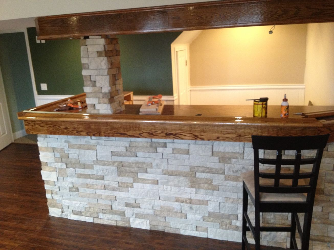 My homemade basement bar so far with AirStone from Lowe's
