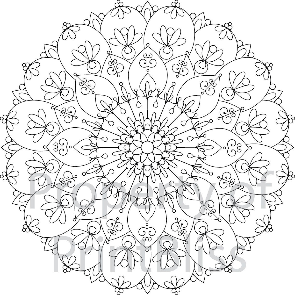 7. Flower Mandala printable coloring page. by PrintBliss on Etsy ...