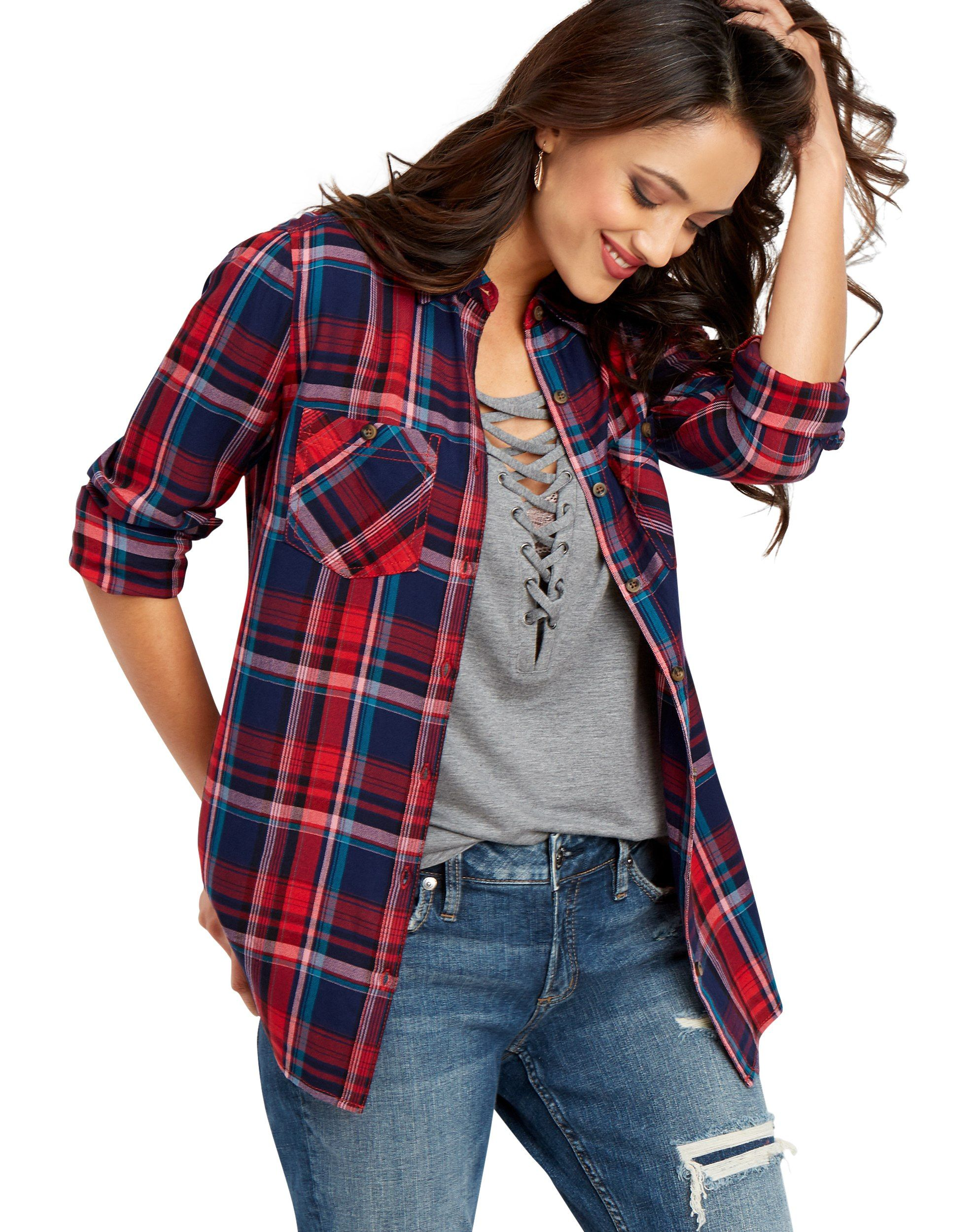maurices - Double Pocket Round Hem Plaid Button Down Shirt - Walmart ...