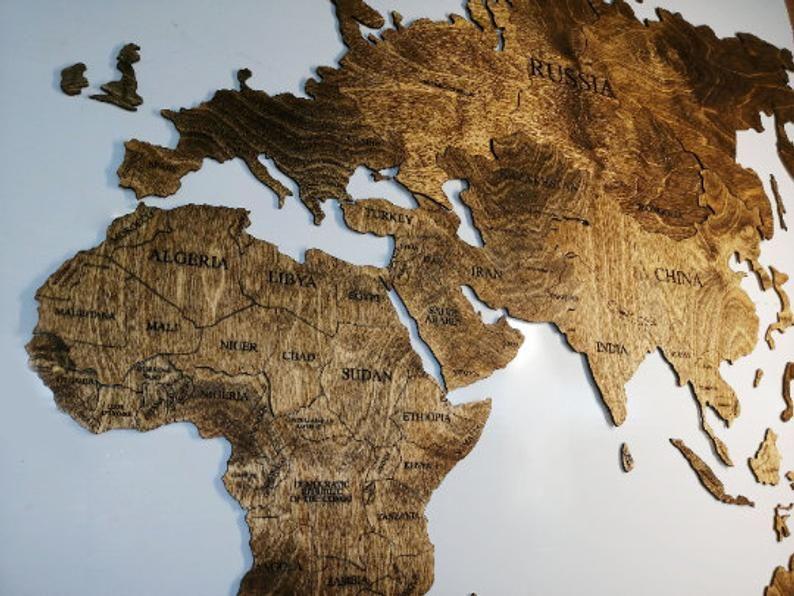Karte der Welt Wand Dekor Holz Weltkarte 5. Jahrestag | Etsy