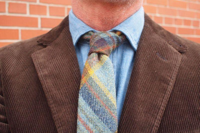 Wool Plaid Tie, Denim Shirt & Corduroy Blazer ~ Outside RL ~ NYFW FW12