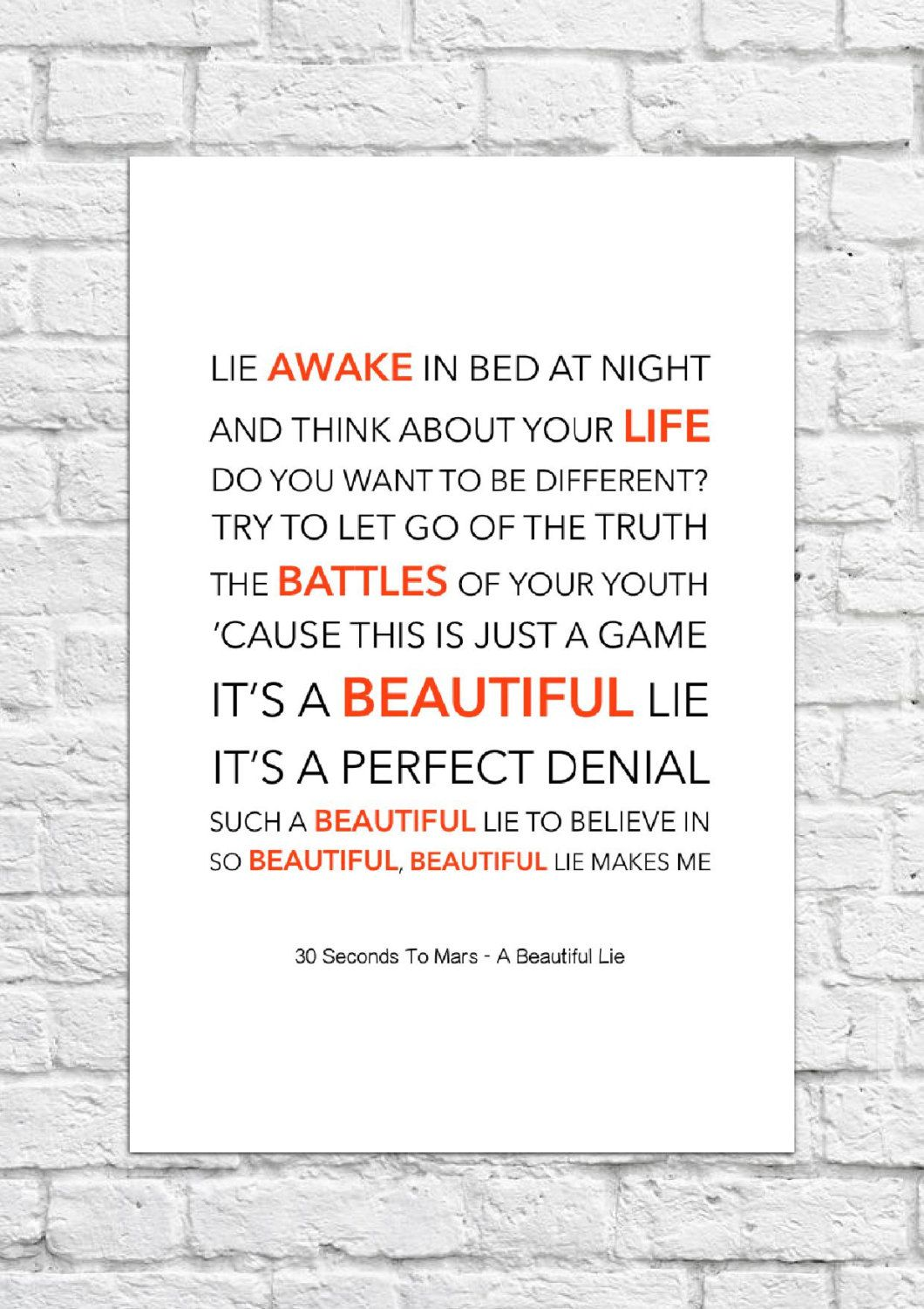 30 Seconds To Mars A Beautiful Lie Lyrical Song Art Poster A