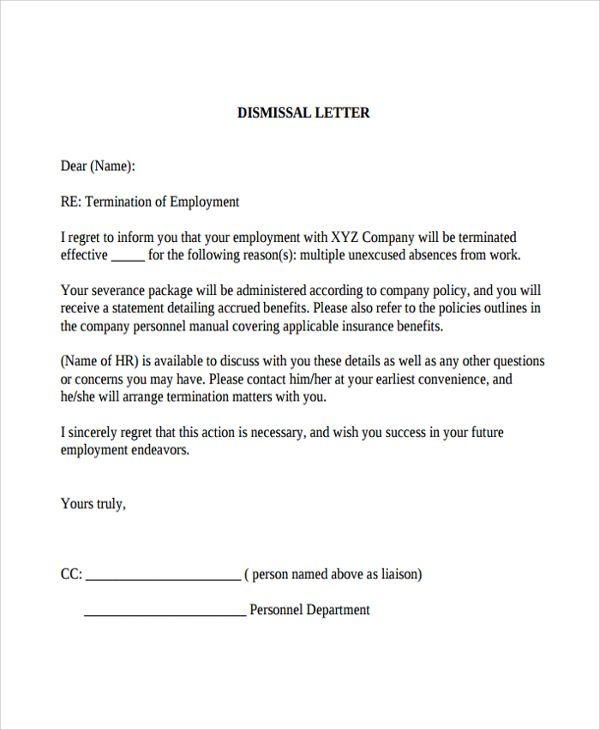 How To Write A Dismissal Letter - Performance professional