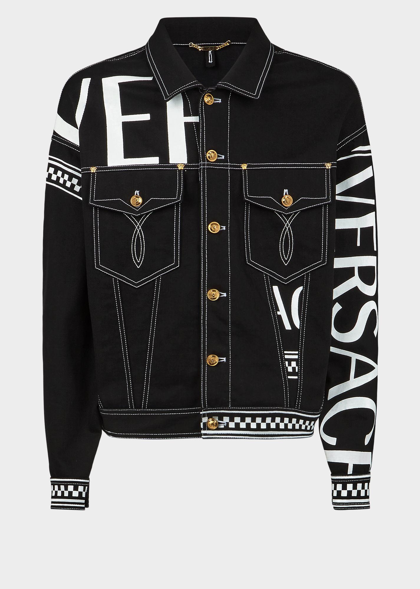 Versace Contrast Stitch Logo Printed Denim Jacket In Black Modesens Printed Denim Jacket Denim Jacket Men Coloured Denim Jacket