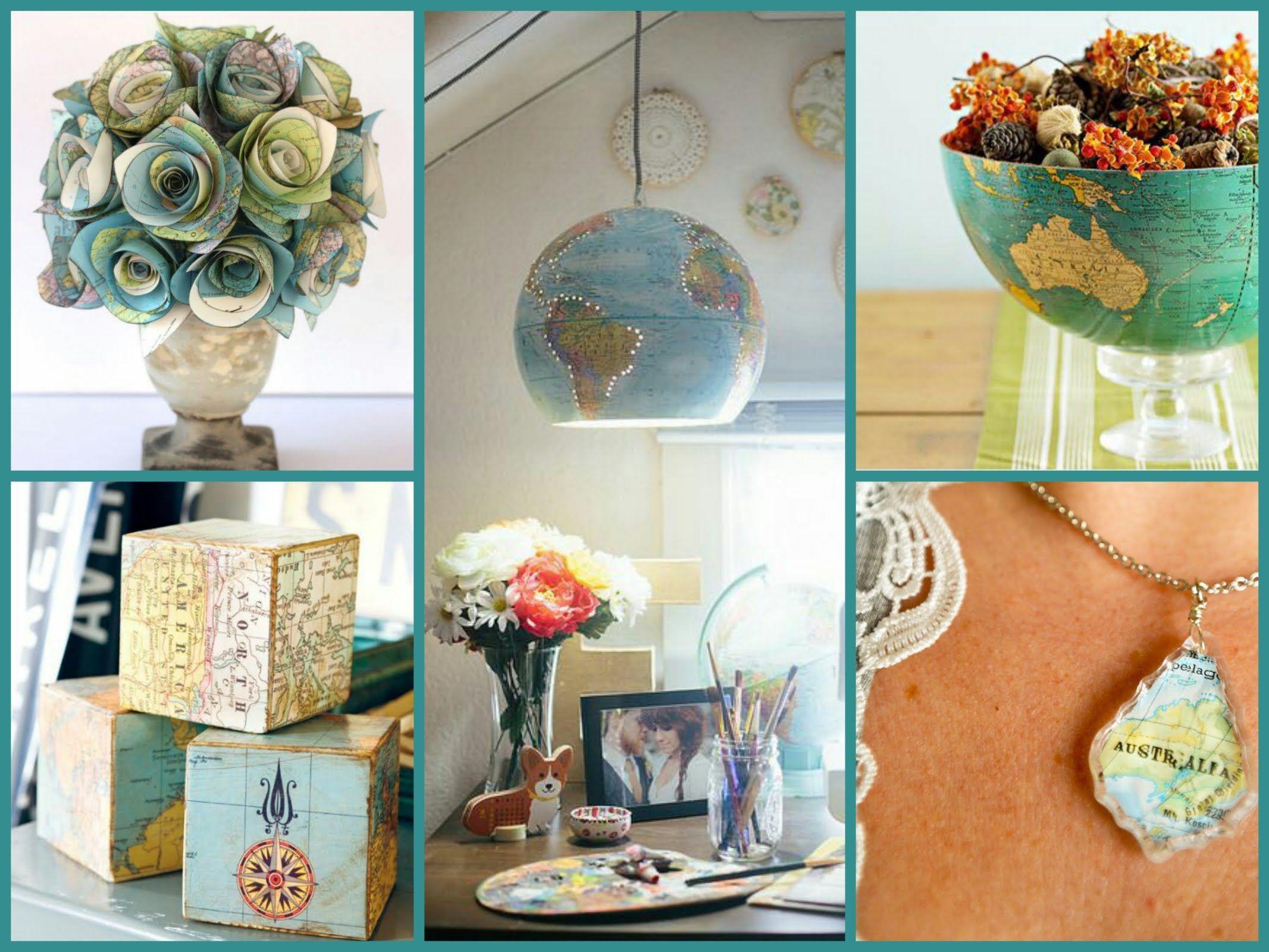 Best DIY Recycled Map Crafts   DIY Globe Decor Ideas U2013 Recycled Home Decor  | E BAYZON