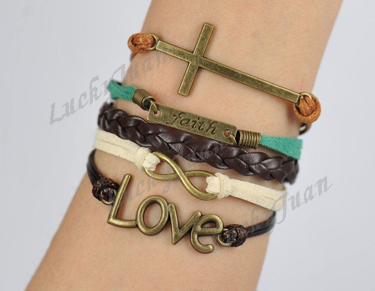 Infinity, Love, Faith & Cross charm Bracelet--Antique Bronze-Wax Cords and Korean Cashmere Bracelet--Friendship Gift---- B039. $7.99, via Etsy.