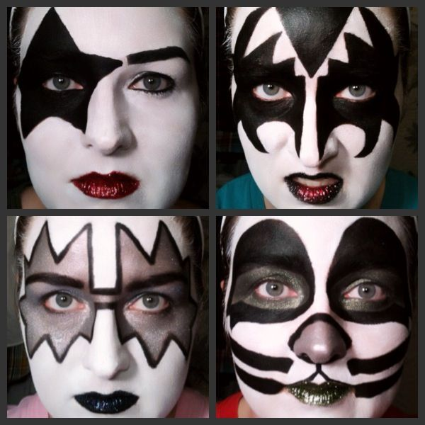 kiss makeup done with white halloween makeup and drugstore makeup - Where Can I Get Halloween Makeup Done