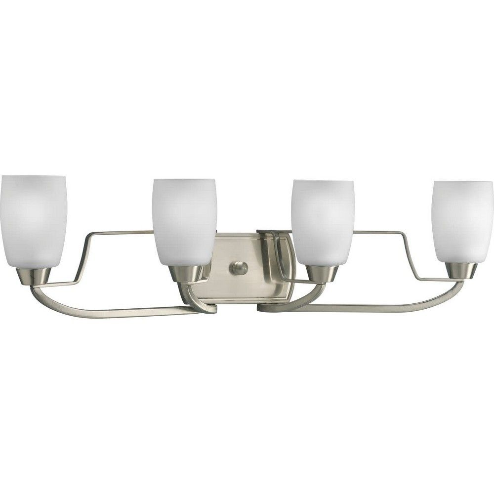 Photo of Progress Lighting P2797 Wisten Four-Light Bathroom Fixture with Etched Glass Shades – Brushed Nickel