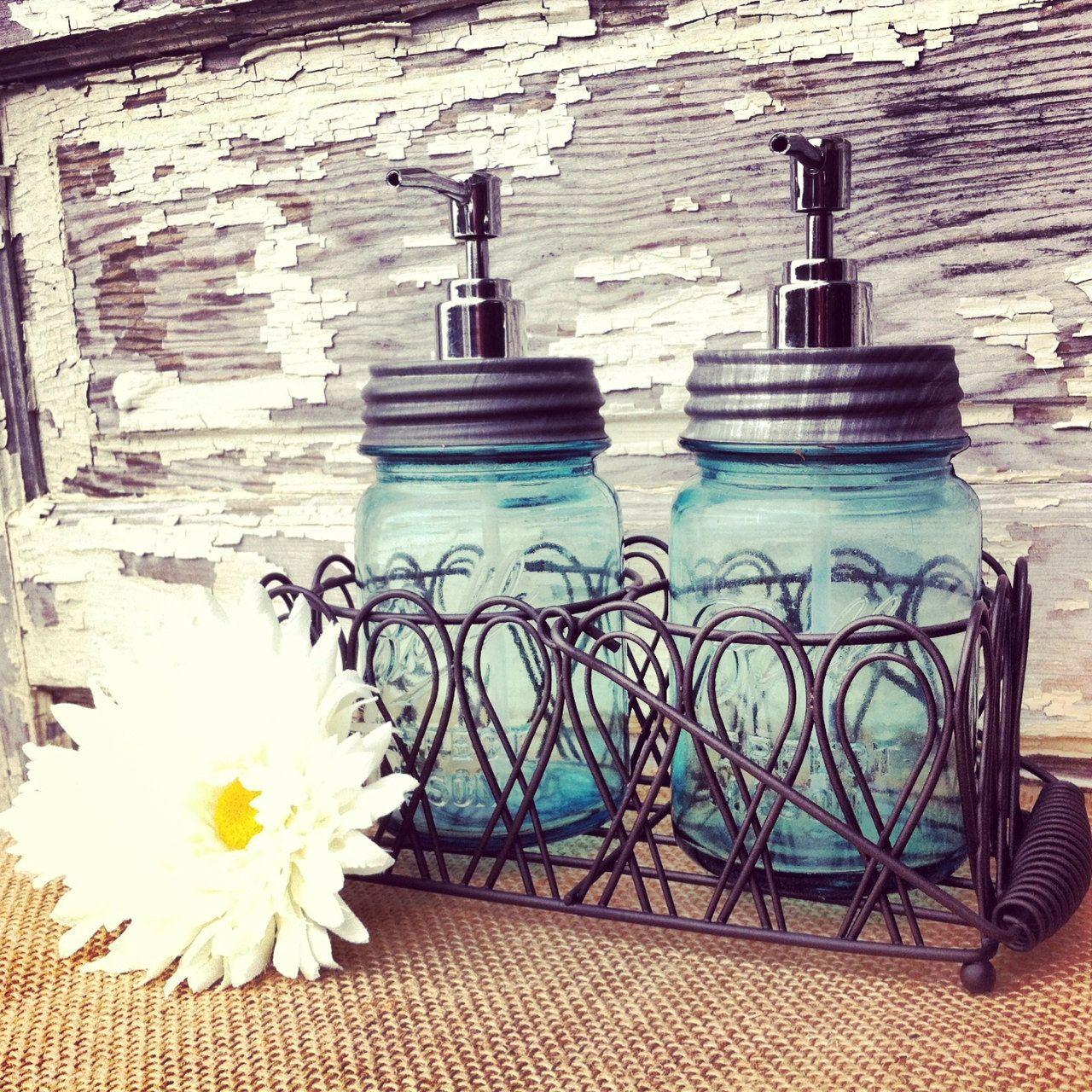 Blue Pint Mason Jar Soap Dispenser Bathroom Caddy Mason