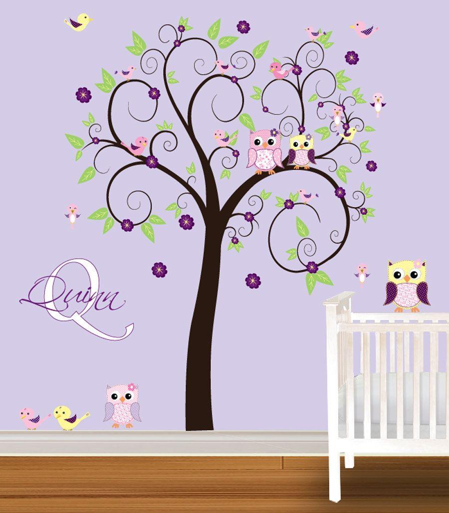 Tree Wall Decal Girls Nursery Vinyl Wall Stickers Flowers Owls Curl