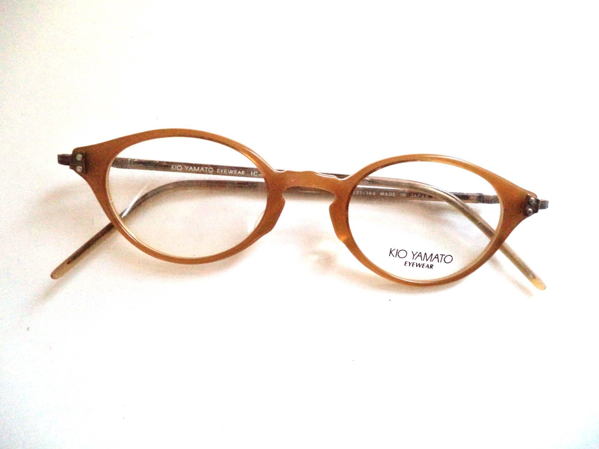 a5d79146786 Kio Yamato Cateye Eyeglasses Frames Honey Horn Rim Antique Gold Made in  Japan New Old Stock