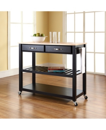 Natural Wood Top Kitchen Cart Island With Optional Stool ...