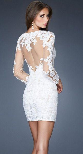 Short white beaded cocktail dress