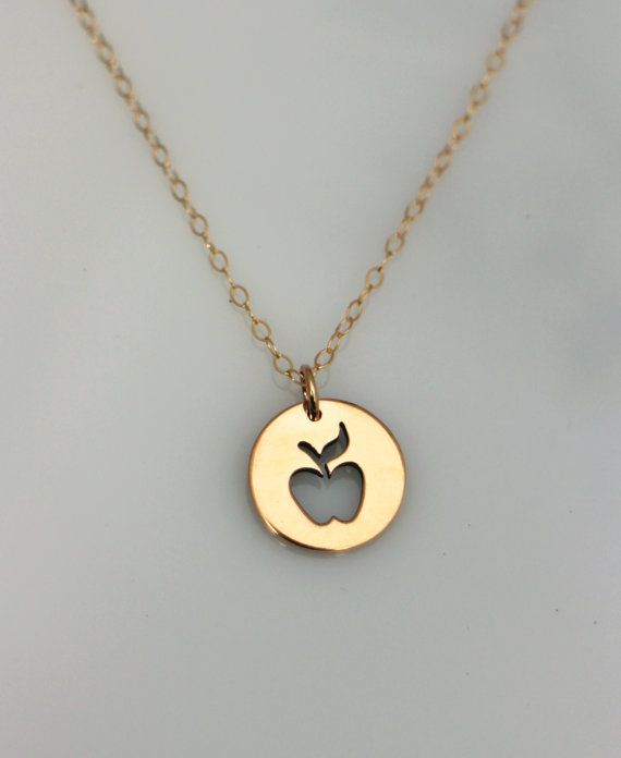 Gold apple teacher necklace gold teacher appreciation necklace gold apple teacher necklace lovely high quality natural bronze apple pendant on a 14k gold chain this is the perfect gift for that special teacher in your aloadofball Image collections