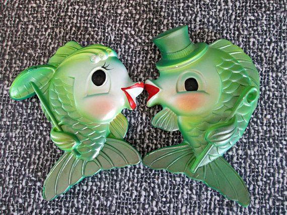 Vintage Big Eye Chalkware Fish Couple Miller Studio By Dollfood