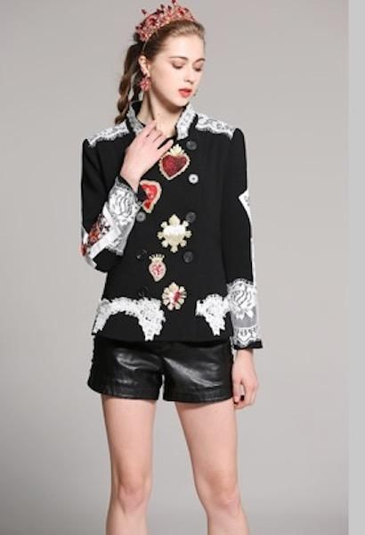 f22a4585 Black Short Coat Women 2018 Winter New Fashion Long Sleeve Stand Heart  Embroidery Print Runway Sequins Luxury Coat-AE-JetSet